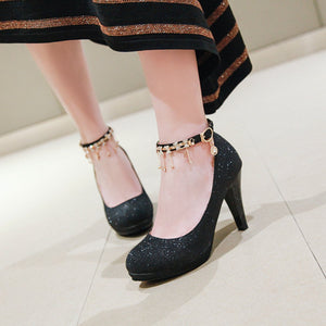 Women's Round Head Rhinestone High Heel Chunkey Pumps Shoes