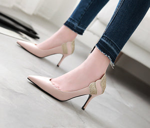 Sequined Stiletto Heel  Pointed Toe Stiletto Heel  Pumps