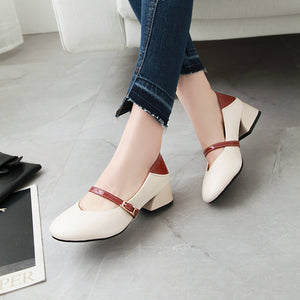 Lady Square-heeled Shallow-mouthed Middle Heels Woman Chunkey Pumps Shoes