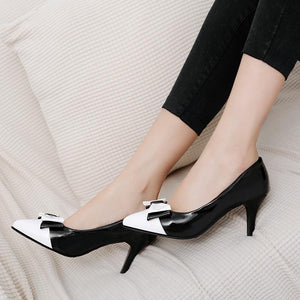 Pointed Toe Bow Tie Stiletto Heel Pumps