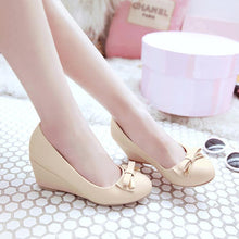Load image into Gallery viewer, Casual Women's Bow Tie Platform Wedges Shoes