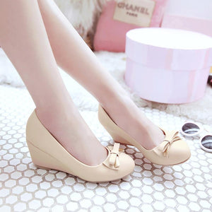 Casual Women's Bow Tie Platform Wedges Shoes
