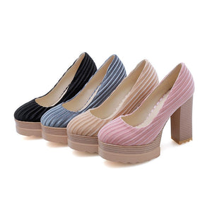 Woman's Chunkey Heel Platform Pumps Ultra-High Heeled