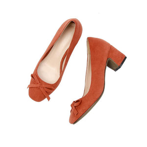 Medium-Heeleded Thick-Heeleded Square Head Butterfly Knot Shallow Mouth Women Chunkey Pumps Shoes