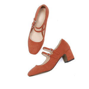 Woman's Square Toe Mary Jane Middle Chunkey Heels