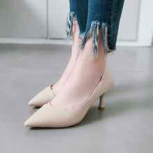 Load image into Gallery viewer, Pu Leather High-heeled Thin-heel Shallow-mouthed Pointed Shoe Woman