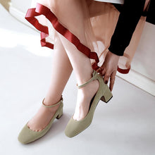 Load image into Gallery viewer, Ankle Strap Women Pumps Chunkey Mid Heeleded