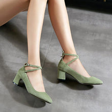 Load image into Gallery viewer, Woman's Rough Heel Shallow Toe Buckle Middle Pumps