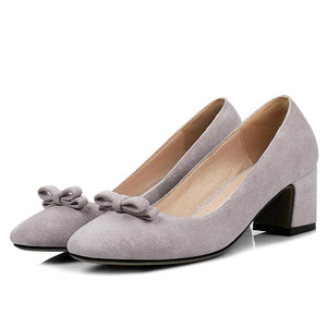 Woman's Knot Pumps Chunkey Heels Shoes