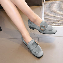 Load image into Gallery viewer, Girls's Suede Low Heeled Chunky Pumps Shoes