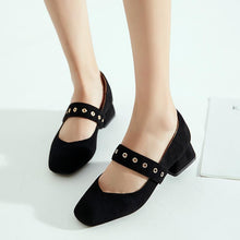 Load image into Gallery viewer, Woman Square Head Shallow Mouth Low Heeled Shoes