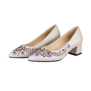 Lady Pointed Toe Flower Shallow Shoe Woman Chunkey Pumps