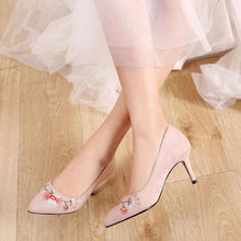 Load image into Gallery viewer, Pointed Toe High Heels Embroidery Shallow Women Pumps Stiletto Heel Shoes