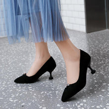 Load image into Gallery viewer, Pointed Toe Shallow Woman Pumps Stiletto Mid Heel Shoes