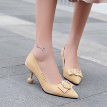 Load image into Gallery viewer, Pointed Toe Woman Pumps Stiletto Kitten Mid Heel Shoes