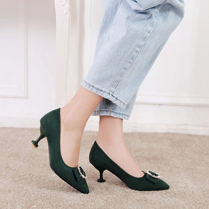 Pointed Toe Woman Pumps Stiletto Kitten Mid Heel Shoes