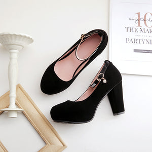 Buckle Rhinestone Wedding Shoes Platform High Heels Pumps