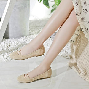 Girls Casual Square Head Shallow Mouth Flat Shoes