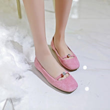 Load image into Gallery viewer, Girls Casual Square Head Shallow Mouth Flat Shoes