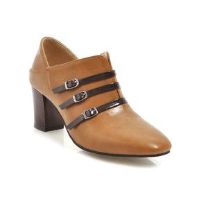 Buckle Chunky Heels Shoes