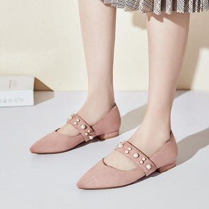 Woman Shallow Mouth Pearl Low Heeled Shoes