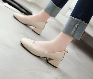 Casual Pu Leather Mid Heeleded Women Chunkey Pumps Shoes