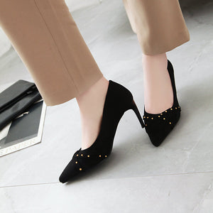 Pointed Toe Rivets High Heels Women Pumps