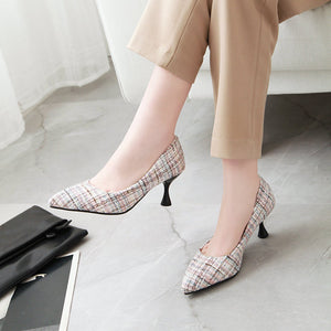 Pointed Toe High Heeled Shallow Mouth Pumps