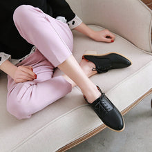 Load image into Gallery viewer, Woman's Lace Up Low Heeled Chunky Pumps Shoes