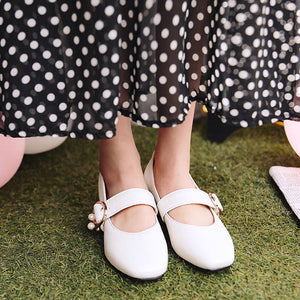 Woman Low Heeled Mary Janes Shoes