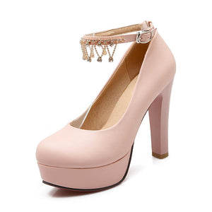 Rhinestone Super High-heel Platform Pumps
