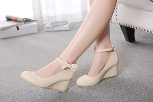 Casual Shallow Toe Buckle Wedges Shoes Women with Bowtie