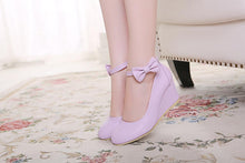 Load image into Gallery viewer, Casual Shallow Toe Buckle Wedges Shoes Women with Bowtie