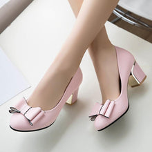 Load image into Gallery viewer, Bow Tie High-heeled Round Head Pumps