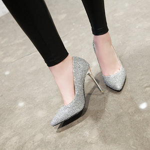 Sexy Pointed Toe Wedding Shoes Ultra-High Heels with Sequins