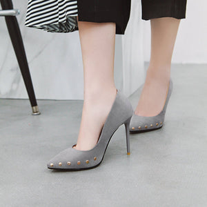 Female Super Spike Heel Rivet Shallow Point Pumps Wedding Shoes