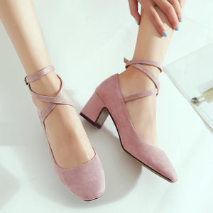 Buckle Shallow Mouth Rough Heeled Square Head Women Chunkey Pumps Shoes