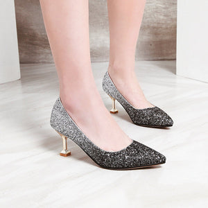 Pointed Toe High-heel Shallow-mouthed Women Pumps Kitten Stiletto Heel Shoes