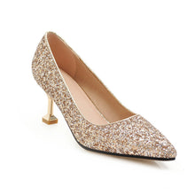 Load image into Gallery viewer, Pointed Toe Sequined High Heels  Shallow Women Pumps Kitten Stiletto Heel Shoes