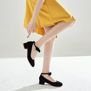 Leisure Square Heeled Buckle Shallow Toe Women Chunkey Pumps Shoes