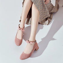 Load image into Gallery viewer, Leisure Square Heeled Buckle Shallow Toe Women Chunkey Pumps Shoes