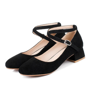 Woman's Buckle Chunkey Pumps Shallow Mouth Middle Heels Shoes