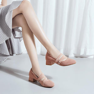 Woman's Square Heel Shallow-mouthed Pumps