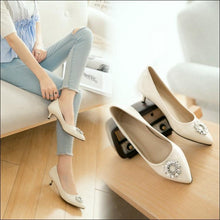 Load image into Gallery viewer, Pointed Toe Shallow Single Shoes Woman Pumps Stiletto Mid Heel Shoes