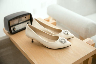Pointed Toe Shallow Single Shoes Woman Pumps Stiletto Mid Heel Shoes