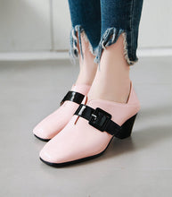 Load image into Gallery viewer, Square Head Belt Button British Style Women Chunkey Mid Heeleded Shoes