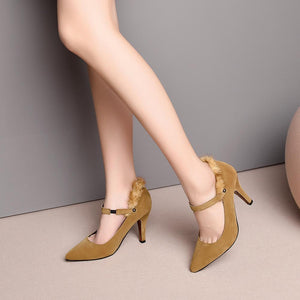 Pointed Toe High Heeled Ankle Strap Pumps