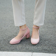 Load image into Gallery viewer, Lady Round Head Rough Heel Shallow Buckle Mid Heels Women Pumps