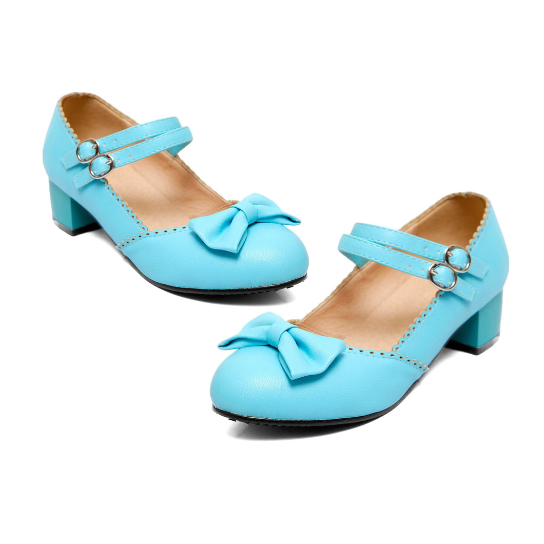 Lady Sweet Bow Mary Janes Shallow Toe Woman Chunkey Heels Pumps