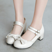 Load image into Gallery viewer, Lady Sweet Bow Mary Janes Shallow Toe Woman Chunkey Heels Pumps